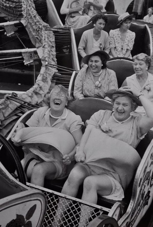 Old ladies on a rollercoaster